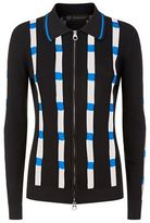 Versace Ribbed Mesh Panel Zip Up Cardigan