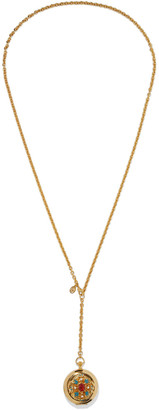 Ben-Amun 24-karat Gold-plated, Stone, Faux Pearl And Enamel Locket Necklace