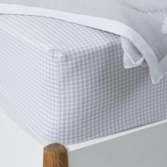 The White Company Gingham Fitted Sheet, Cool Grey, Single