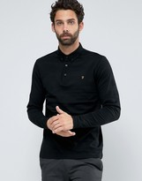 Farah Polo With Long Sleeves In Textured Stripe Slim Fit Black