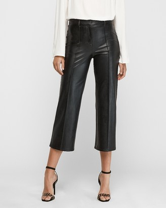 Express High Waisted Vegan Leather Straight Cropped Pant