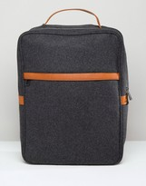Asos Smart Backpack In Charcoal Melton