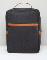 Asos Smart Backpack In Charcoal Melton