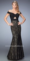 La Femme Off The Shoulder Mermaid Prom Gown