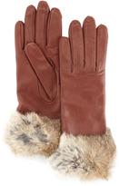 Fur-Cuff Sheepskin Gloves, Copper