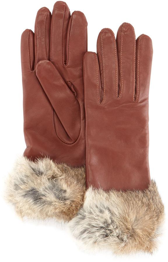 Grandoe Fur-Cuff Sheepskin Gloves, Copper