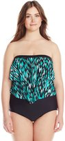 Maxine Of Hollywood Women's Plus-Size Fantastic Bandeau Ruffle One Piece Swimsuit