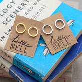 Nell Little Silver Or Gold Karma Circle Stud Earrings