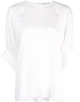 Tibi pin dot shirred sleeve T-shirt