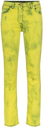 Versace acid wash logo label skinny jeans