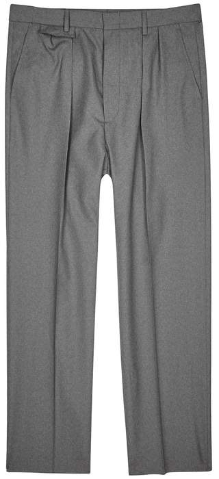 Gucci Grey Pleated Straight-leg Wool Trousers