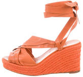 Hermes Leather Espadrille Wedge Sandals