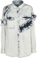 MSGM Denim Ruffled Shirt