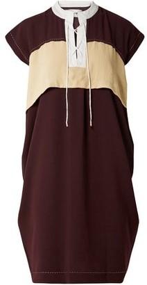 Carven Color-block Lace-up Crepe Dress