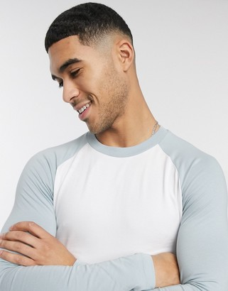 ASOS DESIGN muscle fit long sleeve raglan t-shirt in blue