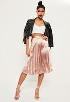 Missguided Pink Pleated Full Contrast Hem Midi Skirt