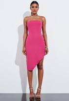 Missguided Pink Bandeau Asymmetric Hem Mini Dress