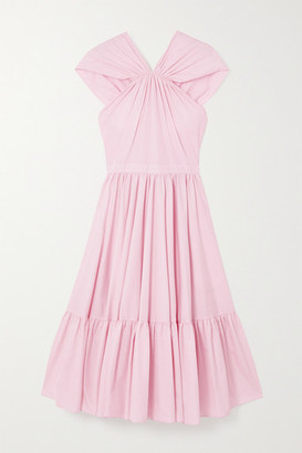 Alexander McQueen Tiered Gathered Cotton-poplin Midi Dress - Pink