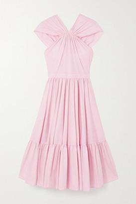 Alexander McQueen Tiered Gathered Cotton-poplin Midi Dress - Pink