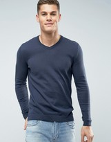 Asos Cotton V-Neck Sweater in Navy