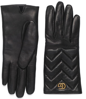 Gucci GG Logo Cashmere Lined Quilted Leather Gloves
