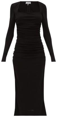 Ganni Ruched Square-neckline Jersey Dress - Black
