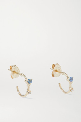 WWAKE Okay Cool 10-karat Gold, Diamond And Sapphire Hoop Earrings
