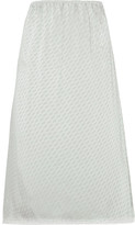 Maison Margiela Lace-trimmed Jacquard Midi Skirt - Light gray