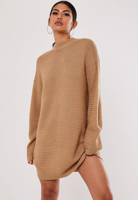 Missguided Tall Camel High Neck Ribbed Mini Dress
