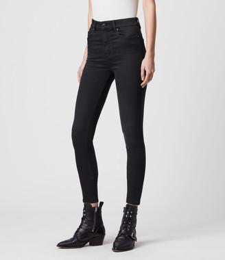 AllSaints Dax High-Rise Superstretch Skinny Jeans, Black
