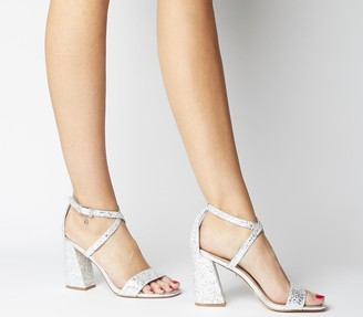Office Heaven Sent Flared Block Heel Sandals Silver Glitter