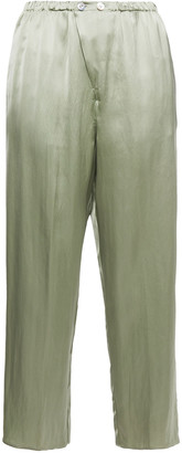 Forte Forte Cropped Satin Straight-leg Pants