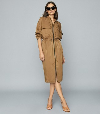 Reiss Sylvie - Utility Shirt Dress in Mid Brown