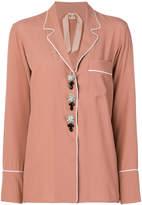 No.21 jewel button pyjama-style shirt