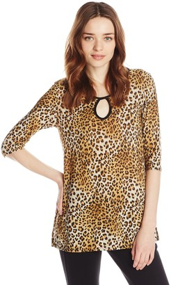 Star Vixen Women's Elbow Sleeve Keyhole Tunic with Piping