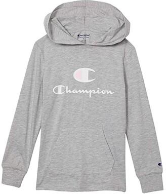 Champion Kids Hooded Jersey C Script Tee (Big Kids) (Oxford Heather) Girl's Clothing