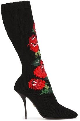 Dolce & Gabbana Floral-Knit Stiletto Boots