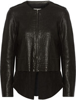 Sandro Vivette convertible textured-leather and crepe jacket