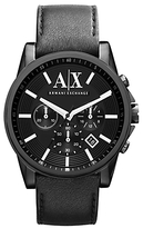 Armani Exchange Ax2098 Chronograph Date Leather Strap Watch, Black