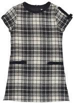 Florence Eiseman Cap-Sleeve Plaid Velvet-Trim Shift Dress, Black/White, Size 4-6X