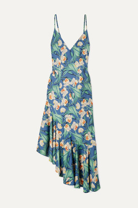 PatBO Asymmetric Ruffled Floral-print Satin Dress - Blue
