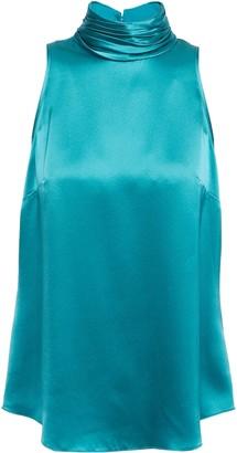 Cinq à Sept Jazlyn Pleated Silk-charmeuse Turtleneck Top
