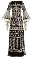 Andrew Gn Aztec-embroidered silk-blend gown