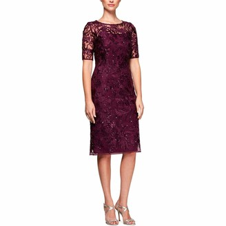 Alex Evenings Women's Short Embroidered Shift Dress