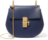 Chloé Drew Small Textured-leather Shoulder Bag - Navy