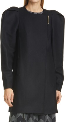 Ted Baker Zylaa Puff Shoulder Wool & Cashmere Blend Coat