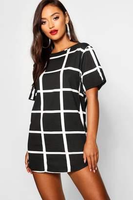 boohoo Petite Curved Hem Grid Check T-Shirt Dress