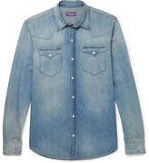 Ralph Lauren Purple Label Slim-fit Washed Cotton And Linen-blend Denim Shirt - Indigo