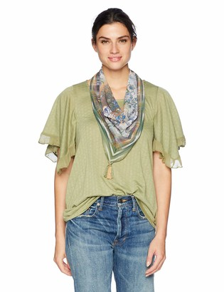 One World ONEWORLD Women's Ruffle Sleeve Scarf Top