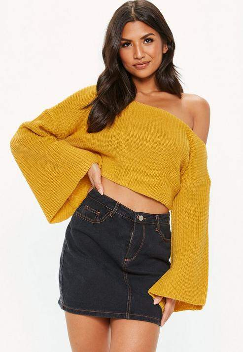 8414aae7f95 Cropped Wide Sleeve Sweater - ShopStyle